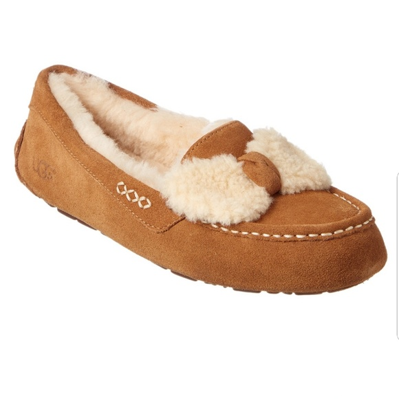 899f434c556 UGG Ansley Fur Bow Water-Resistant Suede Slipper NWT